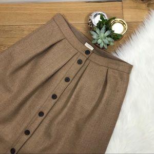 J.Crew Camel Button Down Wool Skirt